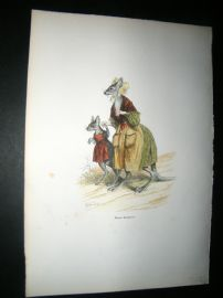 Grandville des Animaux 1842 Hand Col Print. Mother Kangaroo, Australia